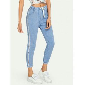 NWT Drawstring Waist Jeans w Stripe